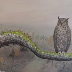 Owl on Oak Branch painting