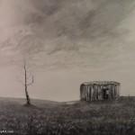 "Desolate Bathtub acrylic on canvas panel 20 x 16 x 0.25"" released: 12/14/16 price: $150"