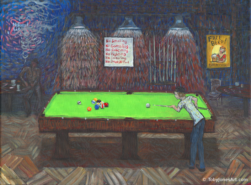 "Straight Shooters Pool Room acrylic on canvas 16 x 12 x 0.5"" released: 1/15/2018 price: $300"
