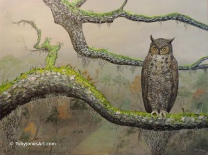 "Owl on Oak Branch acrylic on canvas 24 x 18 x 1.5"" $1500"