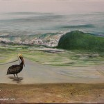"Brown Pelican and Wave acrylic on canvas 16 x 12 x 0.5"" released: 12/12/2018"