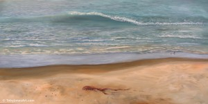 "Shoreline with Waves acrylic on canvas 48 x 24 x 1.5"" inches price: $800"
