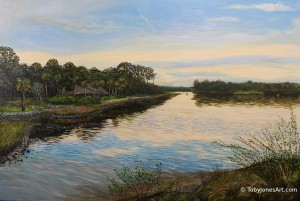 "Pellicer Creek at Princess Place acrylic on canvas 36 x 24 x 0.5"" inches [new release]"