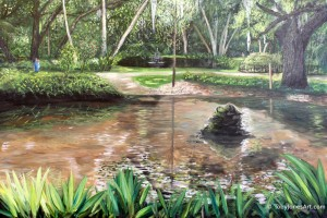 "Koi Ponds At Washington Oaks Gardens acrylic on canvas 36"" x 24 "" 0.5"" new release price: contact for price"