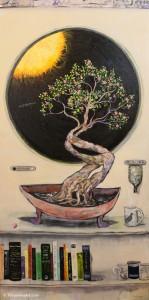 "Azaleas in Orbit acrylic on canvas 24 x 48 x 1.5"" inches price: $3000"
