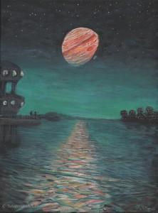 "Ganymede Dusk acrylic on canvas 12 x 16 x 0.5"" inches price: $250"