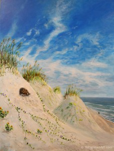 "Gopher Tortoise in Dunes acrylic on canvas 18 x 24 x 1.5"" inches price: $800"