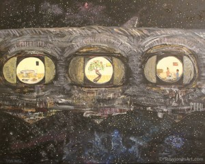 "SOLIS (Slice Of Life In Space) acrylic on canvas 20 x 16 x 0.5"" inches price: $250"